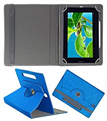 Acm Designer Rotating Case For Datawind Ubislate 7c+ Plus X Stand Cover Dark Blue