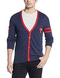 Superman Men's Cotton Blend Sweater (8903346477616_SP1DMW36_Medium_Navy Nepps and Deep Red)