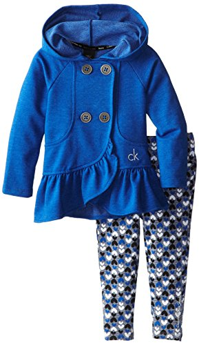 Calvin Klein Little Girls' Hooded Jacket Set With Print Leggings, Blue/Assorted, 5 front-899197