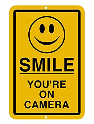 Smile You're On Camera Aluminum-Metal Sign Security Waterproof Business Yellow CCTV Video Surveillance