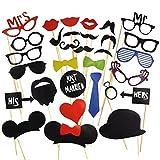 31 Tlg. Party Foto Verkleidung Schnurrbart Lippen Brille Krawatte Hüten Photo Booth Props Set Hochzeit Partymitbringsel