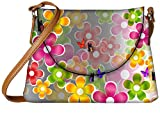 Snoogg multicolored daisies and butterflies 2662 Womens Carry Around Sling Bags