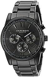 Akribos XXIV Men's AK865BK Round Black Dial Chronograph Quartz Black Bracelet Watch