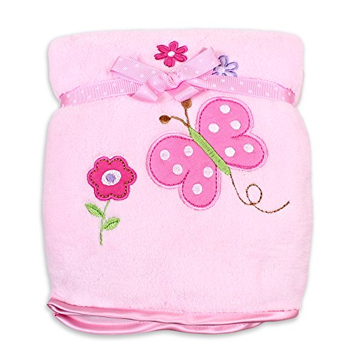 Spasilk Baby-Girls Newborn Extra Thick Plush Blanket with Satin Trim, Pink Butterfly, 30 Inchx40 Inch