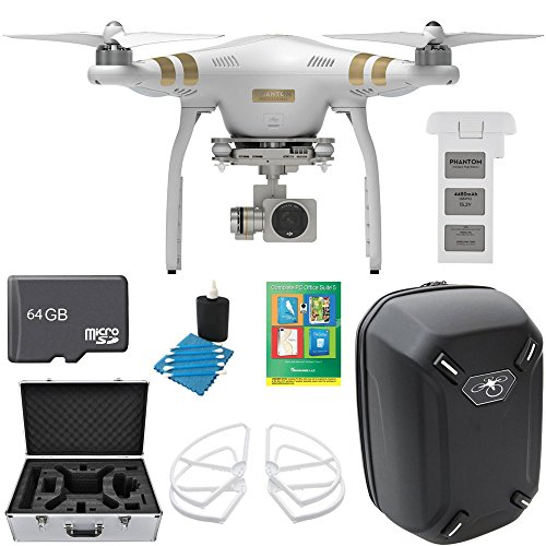 DJI Phantom 3 Quadcopter Drone w/ 4K Camera Pro Bundle includes Drone, Battery, Hardshell Backpack, Case, Propeller Guards, 64GB MicroSD Memory Card, Cleaning Kit and Corel Complete PC Office Suite 5