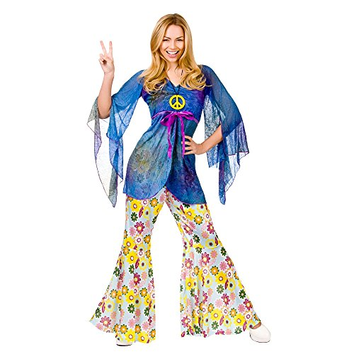 Woodstock Festival Hippie Lady. Includes Flower Power Super Wide Bell-Bottom Trousers , Top and Necklace. Size 10-14.