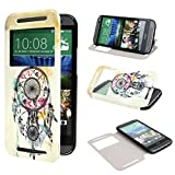 ivencase View Window Painting Art Dream Catcher Style Design PU Leather Flip Stand Case Cover for HTC One M8 HTC One M8 CDMA