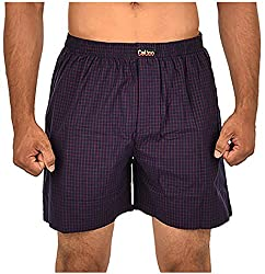 CALICO Men's Cotton Boxers (CAL_19_S, Blue and Red, S)