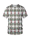Smiley Crystal Skull Men's Fashion T Shirt, White, M