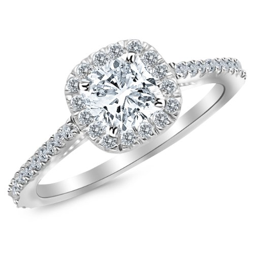 GIA Certified 1 Carat Cushion Cut 14K White Gold Halo Diamond Engagement Ring - 0.7 ct center H VS2