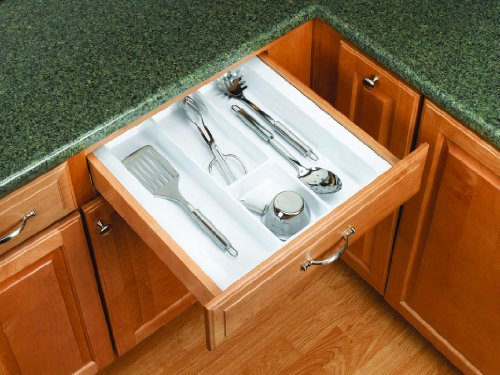 Rev-A-Shelf UT-15-52 UT Series 17-1/2 Inch Wide Trimmable Cutlery Tray Insert, Glossy White