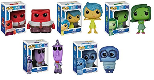 Funko Disney's Inside Out POP Vinyl - Fear, Anger, Joy, Disgust & Sadness Figurines (Set of 5)