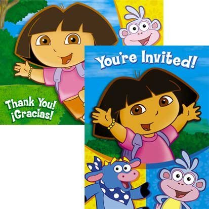 Dora the Explorer Invitations and Thank You Notes 16pc