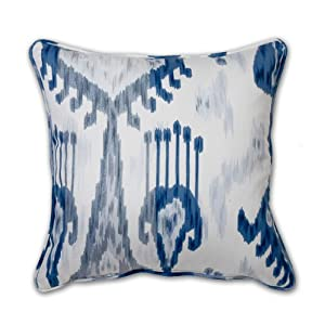 "Throw Pillow Ikat Blue & White 18"" x 18"" w/Insert"