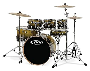 Pacific Drums by DW X7 Shell Pack, Maple, Gold to Black Fade (Cymbals and Hardware Not Included)