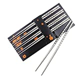 Premium QiaoKer Stainless Steel Chopsticks Set, Reusable Chopsticks Set Include 5 Pairs of Metal Chopsticks, Traditional Oriental Tableware with Modern Spiral Design to Hold