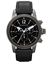 Burberry Watch, Swiss Chronograph Black Leather Strap 42mm BU7813