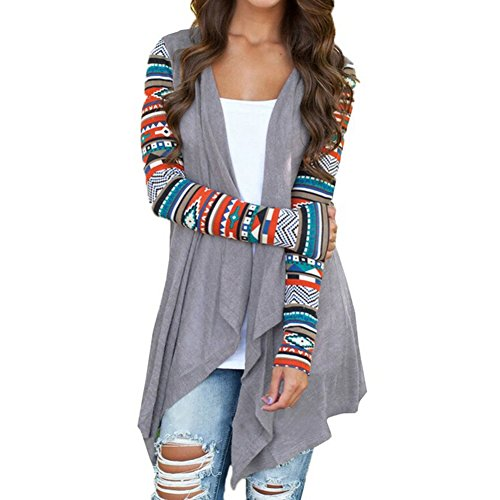 ipretty Comfortable Cardigan Coat Stripe Cotton Shawl Irregular Style