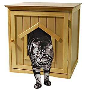 kitty niche abri pour chat avec litiere en pin amazon. Black Bedroom Furniture Sets. Home Design Ideas