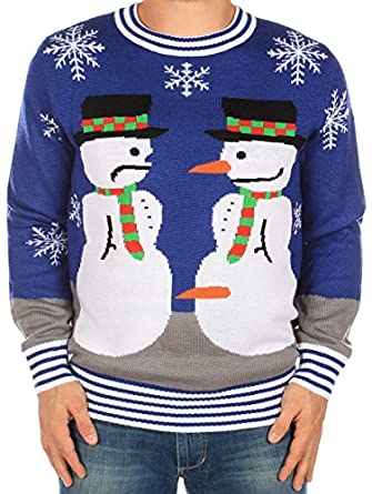 Tipsy Elves Ugly Christmas Jumper - Frosty The Nose Thief Jumper (S) Blue