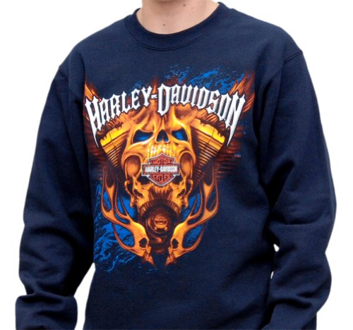 Harley-Davidson Mens Engine Skull Fleece Crew Neck Navy Long Sleeve Sweatshirt (2X-Large)