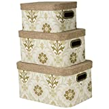 Heavy Paper Storage Bins with Burlap Lids (Set of 3) (WS7)