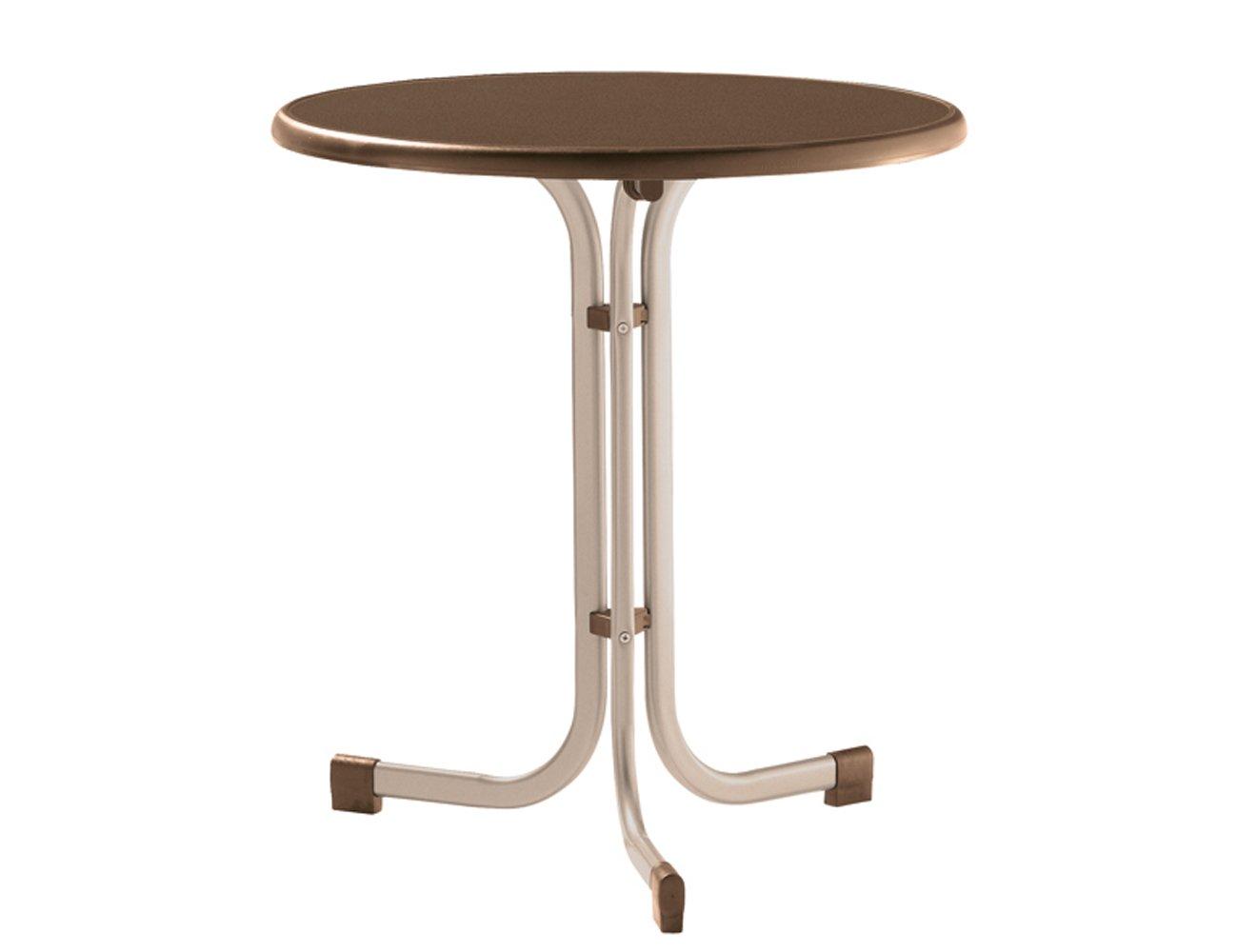 Sieger 208/C-M Boulevard-Klapptisch mit mecalit-Pro-Platte Ø 70 cm, Stahlrohrgestell champagner, Tischplatte Schieferdekor mocca kaufen