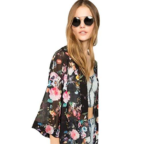 Cardigan, Hatop Women Floral Printed Half Sleeve Chiffon Kimono Cardigan Coat Tops Blouse (S, Black)