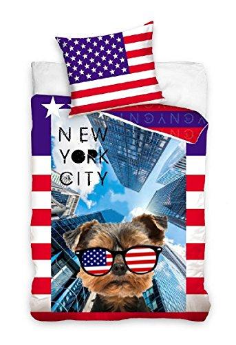 Mini-Maxi - set di biancheria da letto con copripiumone da 160 x 200 cm, federa 70 x 80, 100% cotone, motivo: cane yorkshire a New York City