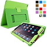 iPad Air 2 Case, Snugg™ - Smart Cover with Flip Stand & Lifetime Guarantee (Green Leather) for Apple iPad Air 2 (2014)