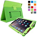 SnuggTM iPad Air 2 Case - Smart Cover with Flip Stand & Lifetime Guarantee (Green Leather) for Apple iPad Air 2 (2014)