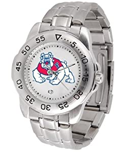 Fresno State Sport Mens Steel Band Watch by SunTime