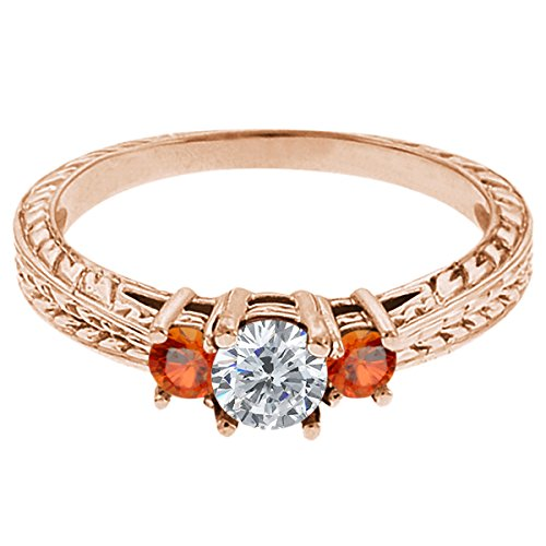 0.56 Ct Round G/H Diamond Orange Sapphire 14K Rose Gold 3-Stone Ring