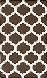 Brown Rug Contemporary Design 10-Foot x 14-Foot Hand-Made Trellis Flatwoven Carpet