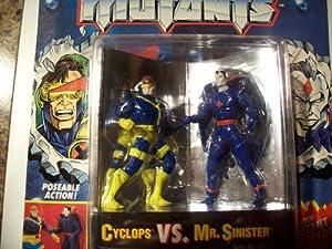 "3"" Die Cast Metal Cyclops VS. Mr. Sinister Action Figures - Marvel Comics X-Men Steel Mutants with Mutant Collector's Stand"