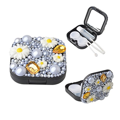 KAKA(TM) Fashion Lovely Flower Crystal Bling Rhinestone Diamond Pearl Style Plastic Travel Contact Lens Case US-pupil Storage Holder Cleaning Box with Extra Accessories (3in1 Contact Case compare prices)