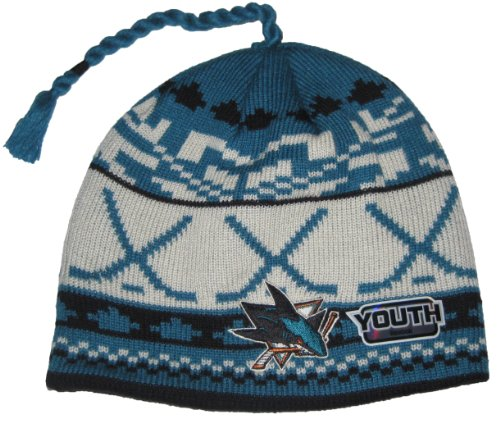 San Jose Sharks NHL Reebok Youth Tassel Top Sweater Knit Beanie Hat at Amazon.com
