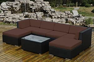 ohana collection PN7036BR Genuine Ohana Outdoor Patio Wicker Furniture 7-Piece All Weather Gorgeous Couch Set with Free Patio Cover by Ohana Depot - DROP SHIP