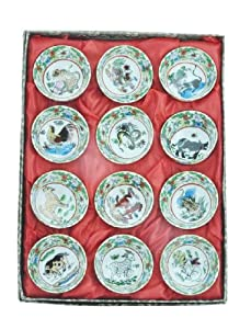 Chinese 12 Small Kungfu Tea Porcelain Chinese Zodiac Teacups, Tea Sets by Hinky Imports