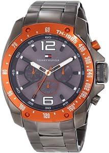 Buy Tommy Hilfiger Mens 1790869 Sport Grey Ion-Plated Orange Bezel Multi-Function Bracelet Watch by Tommy Hilfiger