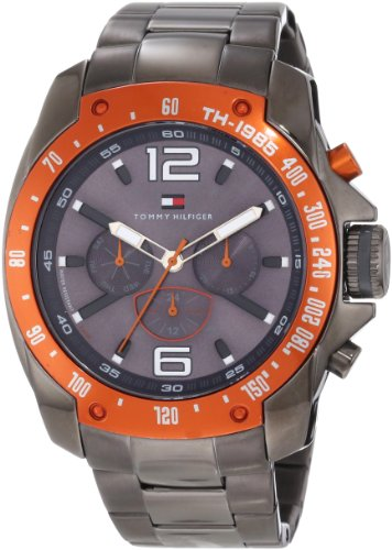 Tommy Hilfiger Uomo 1790869 Sport Grey Ion-Plated Orange Bezel Multi-Function Bracelet Orologio
