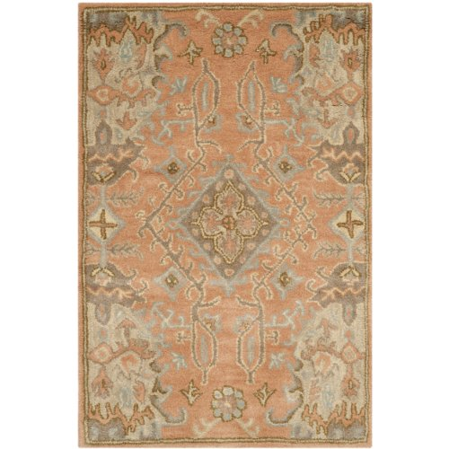 Safavieh Wyndham Collection WYD203A Handmade Terracotta Wool Area Rug, 2 feet by 3 feet (2' x 3')