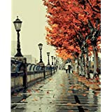 Colour Talk DIY Oil Painting, Paint by Number kit- Romantic Love Autumn 16x20 inch (Tamaño: Framed Canvas)