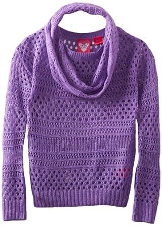 Derek Heart Big Girls' Drop Shoulder Scoop Neck Crop Pointelle Pullover with Infinity Scarf, Aster Purple, Large