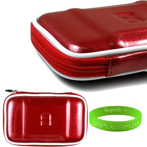 Candy Apple Red EVA Computer Accessories Stylish Hard Cube Carrying Case WD My Passport Portable Hard Drive Protective Cover + VanGoddy LIVE * LAUGH * LOVE Wristband