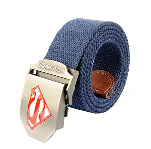 Nanxson(TM) unisex Outdoor tactics Canvas superman logo buckle Belt Leather Inlay PDM0008 (04)