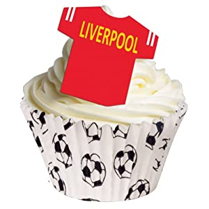 12 Edible Wafer Cake Decorations: Football Shirts - Liverpool from Holly Cupcakes