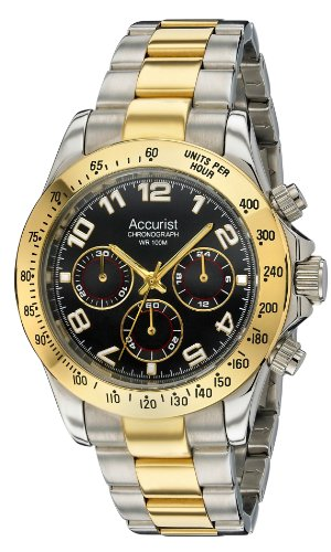Accurist Men's Quartz Watch with Black Dial Chronograph Display and Multicolour Stainless Steel Plated Bracelet MB981B