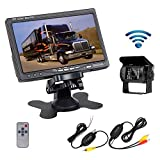 "Camecho RC 12V 24V Car Vehicle Rear View Wireless IR Night Vision Backup Camera Waterproof Kit + 7"" TFT LCD Monitor Parking Assistance System For Truck / Van / Caravan / Trailers / Camper"