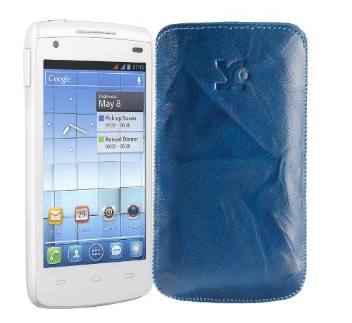 Original Suncase Tasche fuer / Alcatel One Touch 992D (Dual-Sim) / Leder Etui Handytasche Ledertasche Schutzhuelle Case Huelle - Lasche mit Rueckzugfunktion* In Wash-Blau
